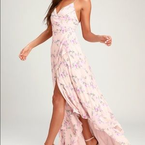 Blush Floral Lace-Up High-Low Maxi Dress